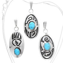 Navajo Traditional Patterns Turquoise Pendants 40008