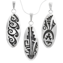Detailed Navajo Patterns All Sterling Silver Pendant with Chain 40009