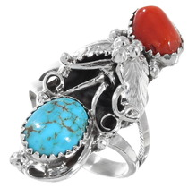 Navajo Turquoise Coral Ring 40012