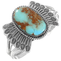 Navajo Turquoise Silver Feather Cuff Bracelet 40013