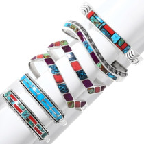 Navajo Gem Inlay Sterling Cuffs Lot of 6 Bracelets 39930