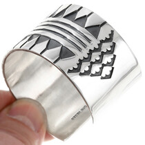 All Sterling Silver Navajo Bracelet Geometric Pattern 40035