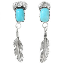 Turquoise Sterling Silver Feather Earrings 40039