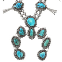 Natural Turquoise Squash Blossom Necklace 40040