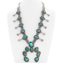 Old Pawn Turquoise Squash Blossom Necklace 40040