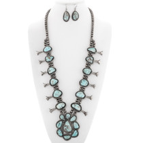 Vintage Turquoise Squash Blossom Necklace Set 40041