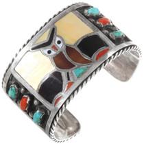 Zuni Inlaid Colorful Gemstone Owl Cuff Bracelet 40046