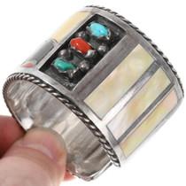 Vintage 1970s Sterling Silver Zuni Owl Bracelet 40046