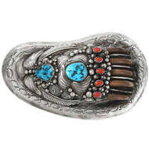 Vintage Turquoise Coral Bear Claw Belt Buckle 40047