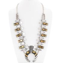 Sterling Silver Gold Heartline Bear Squash Blossom Necklace 40048