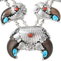 Real Bear Claw Native American Squash Blossom Necklace 40058