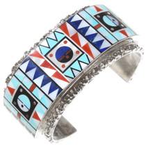 Vintage Zuni Multistone Inlaid Silver Cuff Bracelet 40060