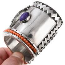 Vintage Native American Silver Gold Turtle Symbol Bracelet 40064