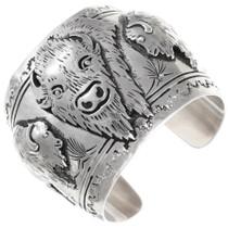 Vintage Sterling Silver Buffalo Cuff Bracelet Tommy Singer 40067