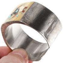 Sterling Silver Zuni Gemstone Inlay Kachina Bracelet 40069