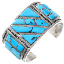 Old Pawn Blue Turquoise Inlay Bracelet 40071