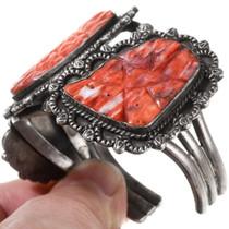 Carved Spiny Oyster Navajo Bracelet 40072