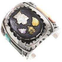 Vintage Zuni Inlaid Owl Sterling Silver Cuff Bracelet 40078