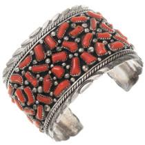 Vintage Sterling Silver Mediterranean Coral Bracelet 40080