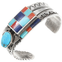 Vintage Multi Stone Turquoise Inlay Silver Feather Bracelet 40084