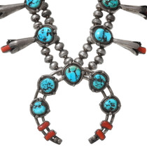 High Grade Turquoise Coral Native American Squash Blossom Necklace 40087