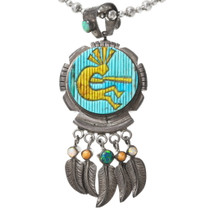 Reversible Space and Kokopelli Sterling Silver Pendant 40090