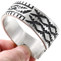 Native American Hand Hammered Pattern Silver Bracelet