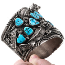 Sleeping Beauty Turquoise Nugget Native American Bracelet 40094