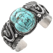 Vintage Carved Turquoise Cuff Bracelet 40095