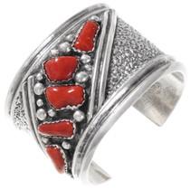 Vintage Navajo Coral Sterling Silver Bracelet 40103