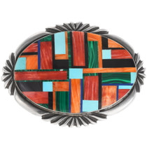 Vintage Inlaid Turquoise Shell Belt Buckle 40106
