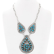 Turquoise Silver Gold Spinner Necklace 40107