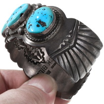 Vintage Natural Turquoise Sterling Silver Bracelet 40108