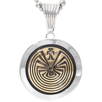 Sterling Silver Gold Man in the Maze Pendant 40110