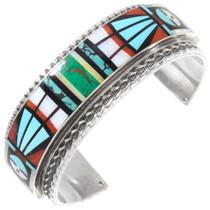 Vintage Zuni Inlay Kachina Cuff Bracelet 40112