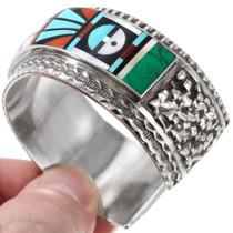 Masterful Gemstone Inlay Zuni Geometric Design Silver Bracelet 40112