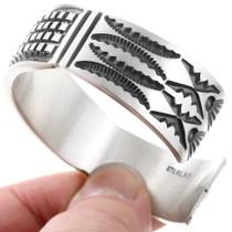 Navajo Pattern Heavy Gauge Sterling Silver Bracelet 40117