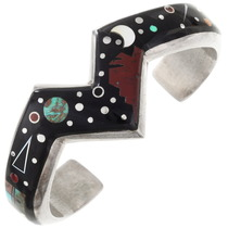 Vintage Navajo Inlaid Night Sky Cuff Bracelet 40119