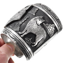 All Sterling Silver Navajo Storyteller Wolf Design Bracelet 40127