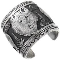 Wide Sterling Silver Navajo Wolf Bracelet 40127