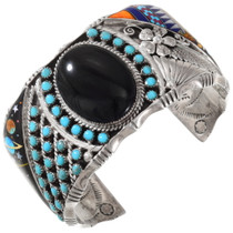 Vintage Sterling Silver Turquoise Inlay Bracelet 40129