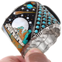 Sleeping Beauty Turquoise Adobe Pueblo Inlaid Space Bracelet 40129