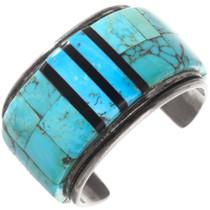 Large Old Pawn Turquoise Inlay Bracelet 40131