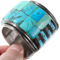 Vintage High Grade Turquoise Inlay Sterling Silver Cuff Bracelet 40131