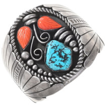 Old Pawn Turquoise Coral Silver Cuff Bracelet 40135