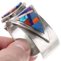 Navajo Geometric Design Turquoise Inlay Bracelet 40136
