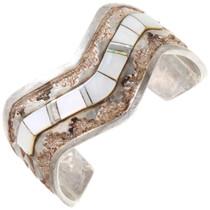 Vintage Navajo Silver Gold Inlay Cuff Bracelet 40138