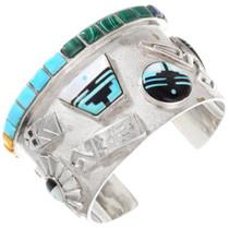 Vintage Sterling Silver Gemstone Cuff Bracelet 40139