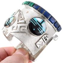 Hopi Symbols Kachina Multi Gemstone Inlay Turquoise Bracelet 40139