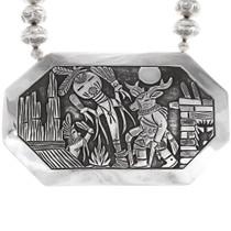 Vintage Sterling Silver Becenti Kachina Storyteller Medallion Necklace 40098